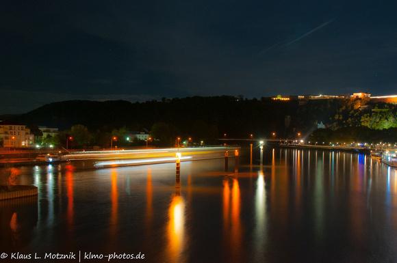 Mosel bei Nacht, Koblenz
